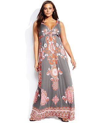 INC International Concepts Plus Size Sleeveless Printed Maxi Dress - Plus Size Dresses - Plus Sizes - Macy's