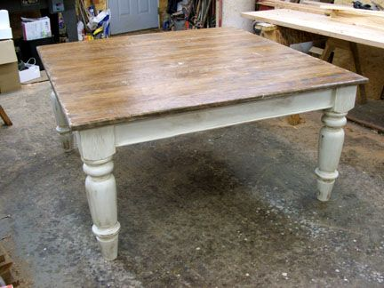 Square Cherry Wood Top And Base Farmhouse Table With A 1