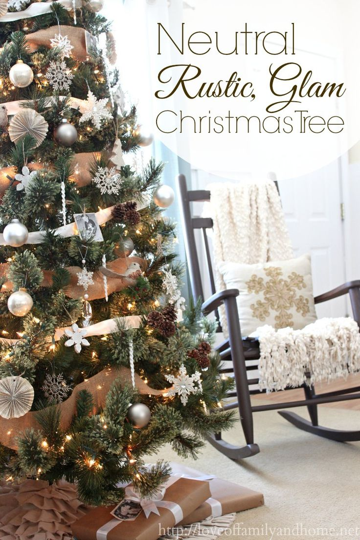 Neutral, Rustic Glam Christmas Tree via http://loveoffamilyandhome.net