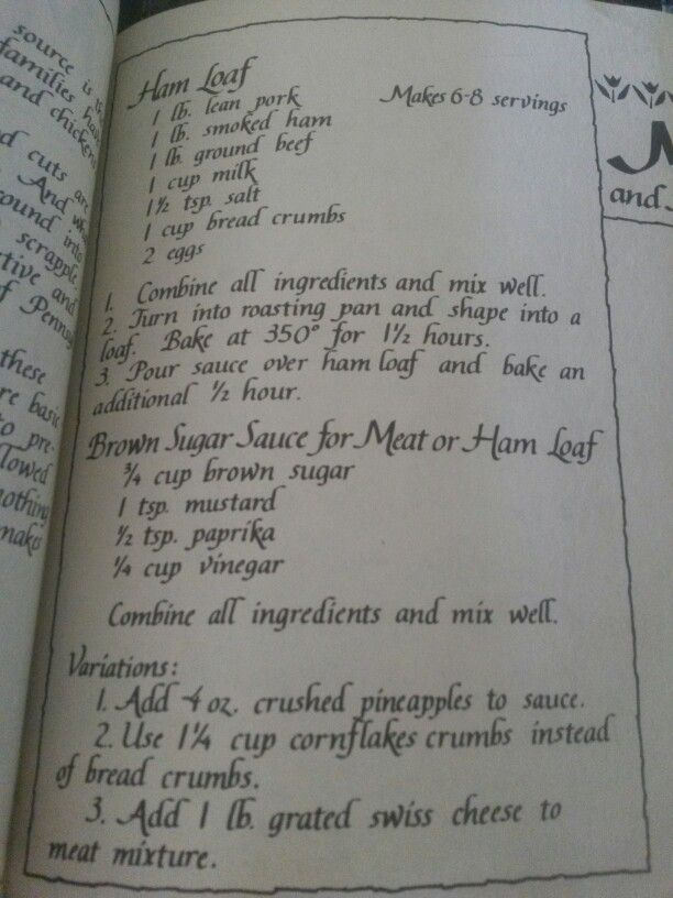 Ham loaf from Amish cookbook