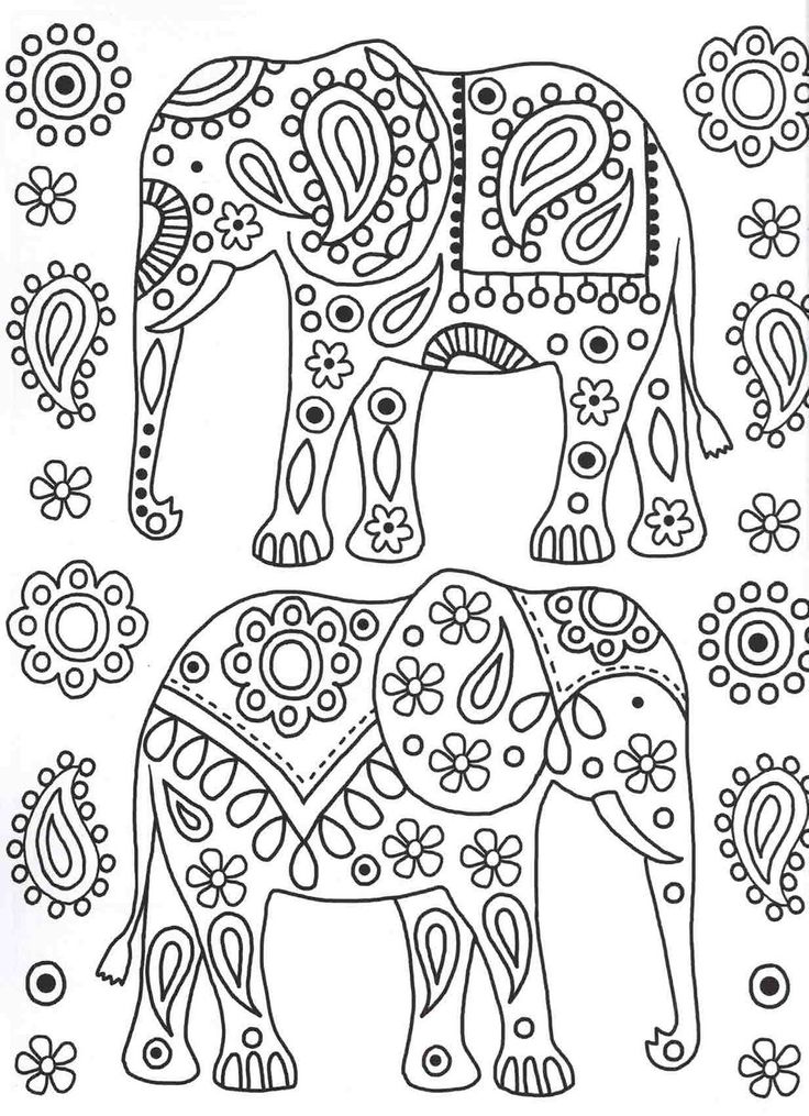 Elephants colouring page | Patterns Colouring Book
