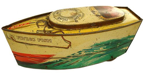 British Biscuit Tins - Search Results Details--- 1930 CWS Boat Flying Fish