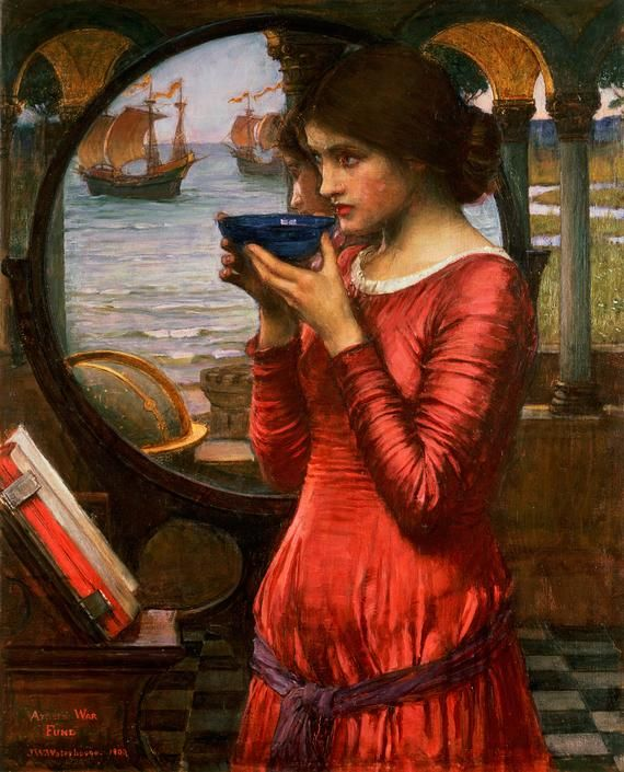 Destiny (1900) by John William Waterhouse. When the second Boer War broke out in 1899, 350 British painters donated works to the Artists' War Fund to raise money for the troops. Destiny by Waterhouse was painted especially for the cause, indicated by the small inscription saying 'Artists' War Fund' in the bottom left. The woman drinks a toast to the soldiers, whose ships we see departing in the mirror behind.