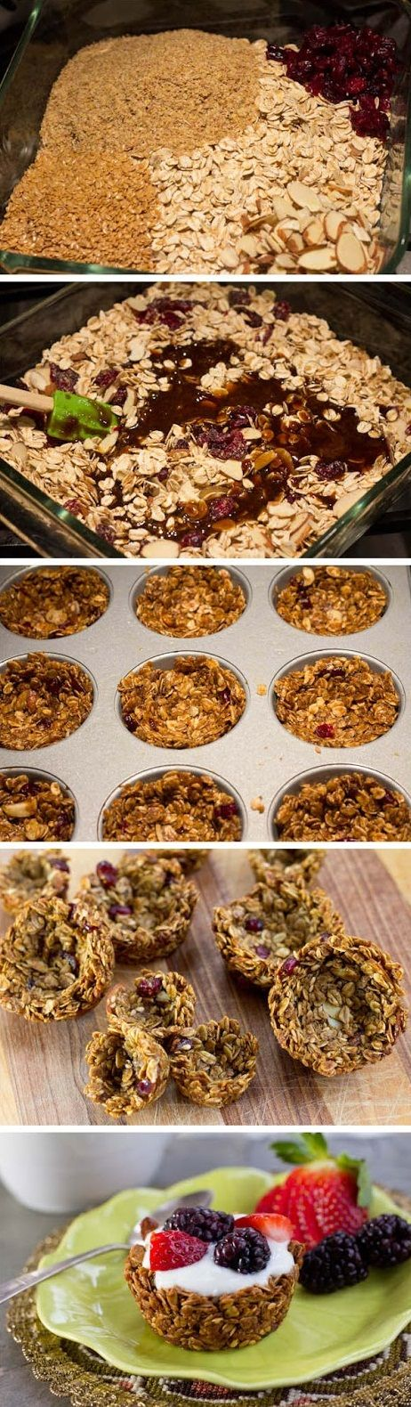 How cute are these granola cups? Perfect filled with yogurt and topped with fruit! For more grain-filled recipes, health tips, and interesting articles: http://www.grainsforyourbrain.org/?utm_source=pinterestutm_medium=socialutm_campaign=gffpins13
