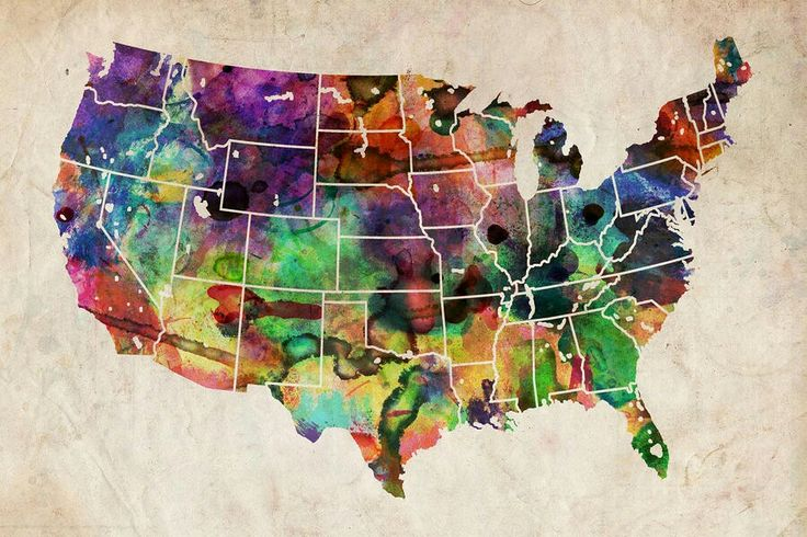 usa watercolor map poster by michael tompsett all posters are professionally printed packaged and shipped within 3 4 business days
