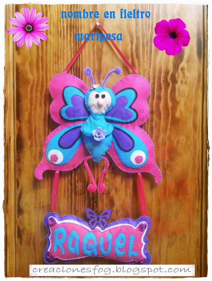 creaciones FOG: nombre en fieltro: mariposa Raquel