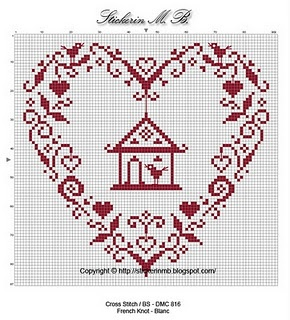 Cross stitch heart/bird house