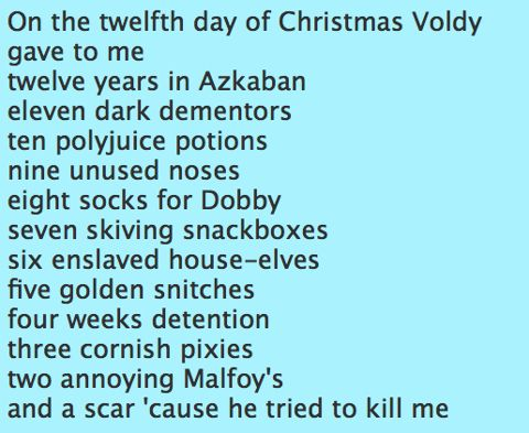 12 days of Christmas, Harry Potter style. lol 2 of my favourite things combined :)