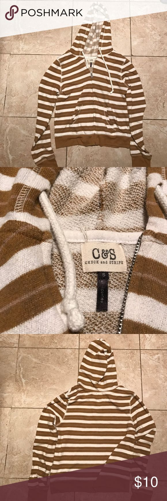 PacSun C&S check and stripe zip up hoodie Brown and white horizontal stripes. Super soft and light. VGUC PacSun Tops Sweatshirts & Hoodies