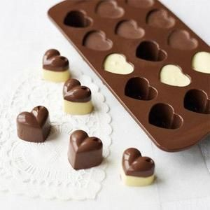 DIY Heart Shaped Silicone Mold for Chocolate (15 Hearts)