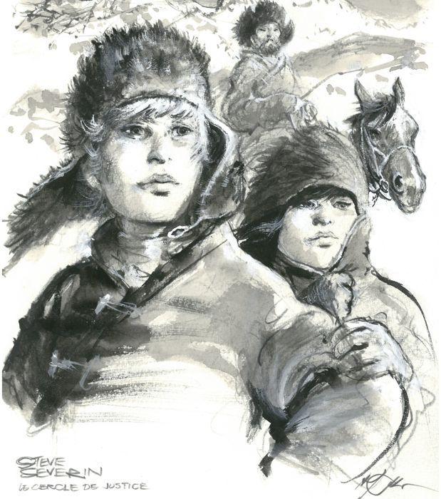 "Follet, René- Original drawing- Steve Severin - ""Le cercle de justice"" - W.B."