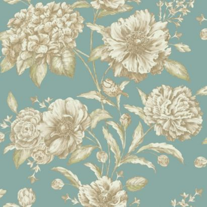 This would be lovely as a fabric. Jemima Wallpaper in Teal  Gold by Statement