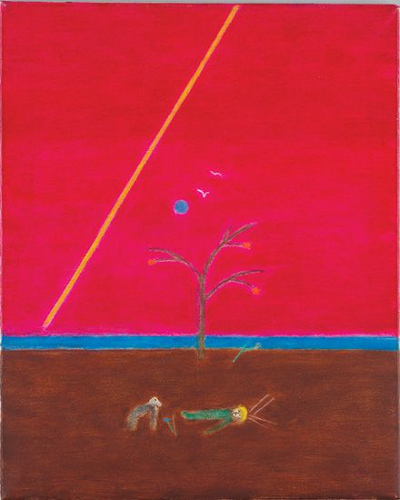 Craigie Aitchison CBE, RA, (1926-2009), 'Saint with Dog', c. 1982, oil on canvas, 61 x 50.8 cm.  From Merville Galleries