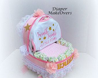 Baby Carriage Diaper Cake Carriage Diaper Cake by DiaperMakeOvers