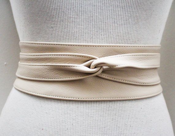 Cream Leather Obi Belt Waist Belt Obi belt Leather by LoveYaaYaa