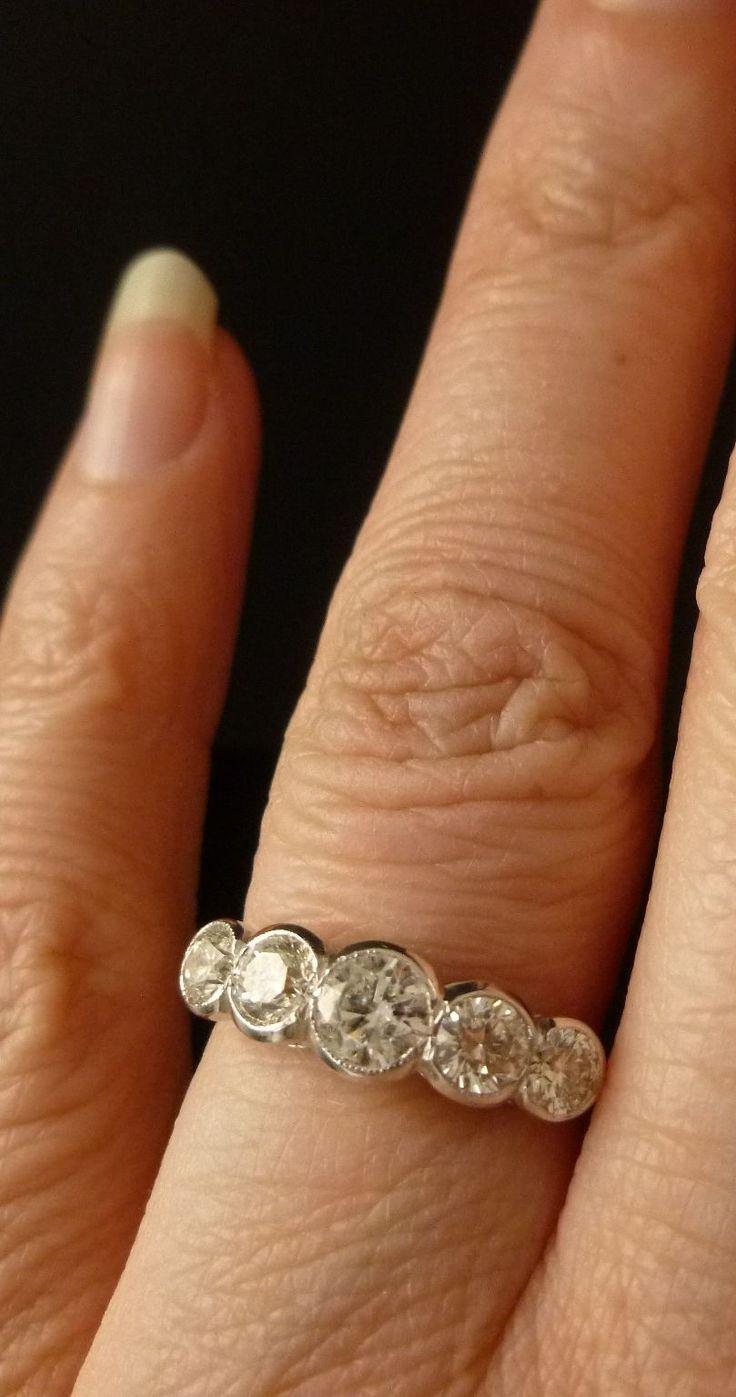 Antique Diamond Ring Old Cut 2ct Five Stone 18ct White Gold  Ebay