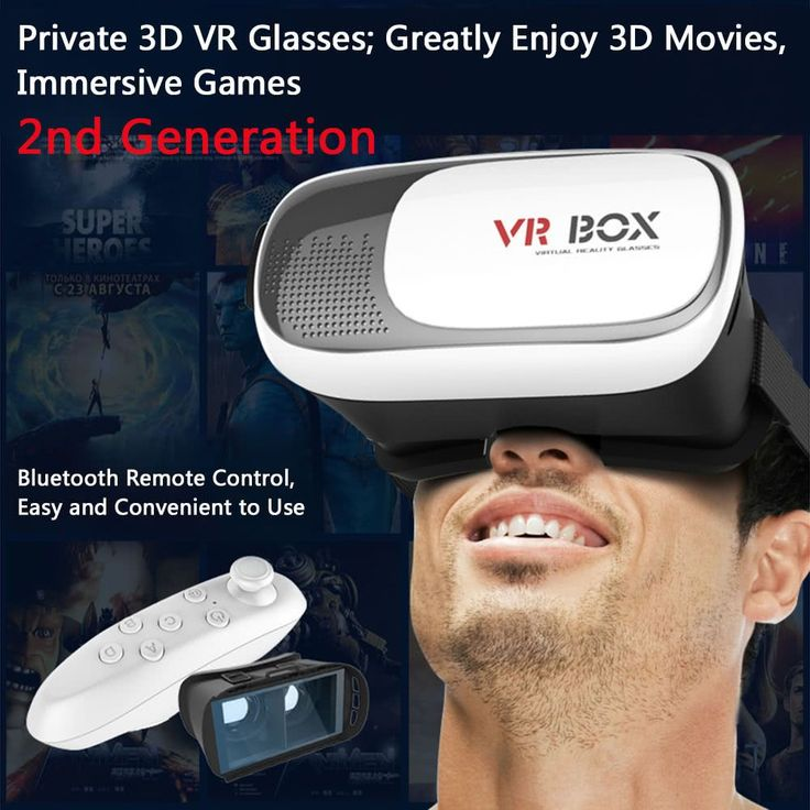 3D VR Glasses Virtual Reality Glasses Headset Bluetooth 3.0 Remote Controller Universal VR Box Sales Online black + white - Tomtop #vrheadsets