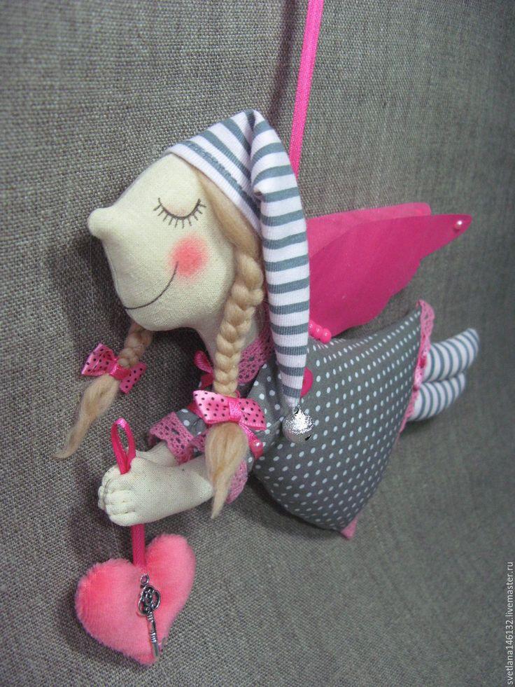 Купить Ангел в колпачке - фуксия, серый цвет, платье в горошек, колпачок, колпак, ангел, ангелочек