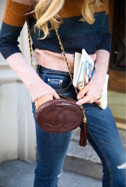 striped sweater + vintage Chanel
