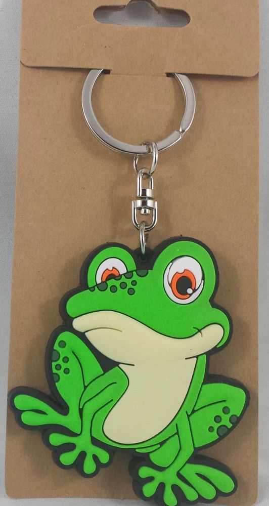 Green Frog Keychain Just Hanging Around Cartoon Adorable Key Chain Purse Ring