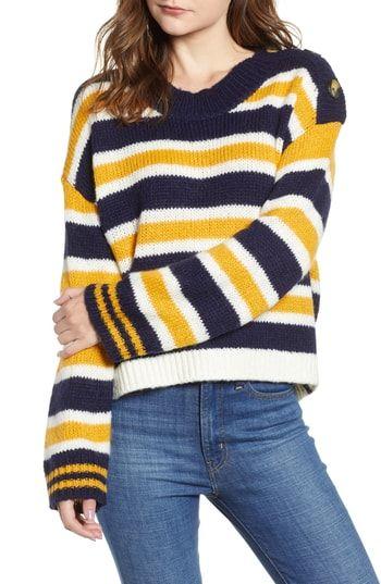 527878051 Button Shoulder Stripe Sweater - Women s fashion Sweater.   55   alltrendytop offers on top store