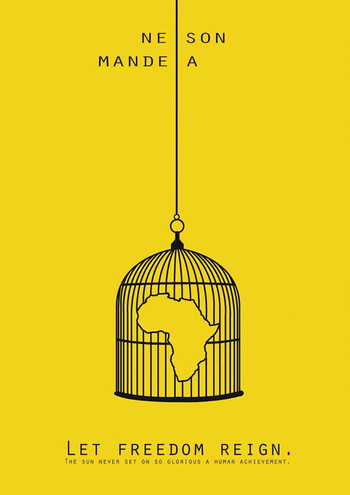 The Africa continent in a birdcage symbolises how it is trapped, possibly without realising it, but the message is trying to convey how voting for Nelson Mandela would free the people of Africa. Effective use of black on yellow, stands out