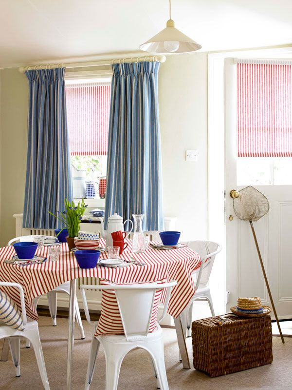 Pencil Pleat Curtains in Celeste, £251; roller blind in Fraise, from £100; tablecloth in Fraise, £35.
