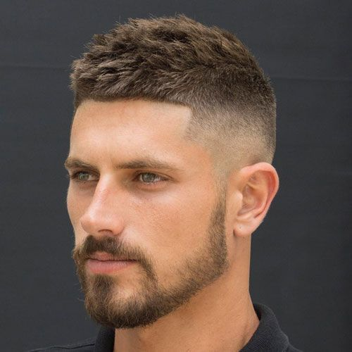 Spiky Crew Cut with High Temple Fade