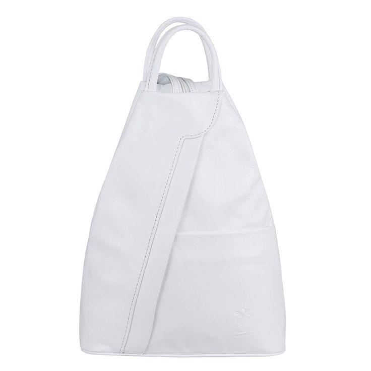Made in Italy Damen echt Leder Rucksack Backpack Lederrucksack Tasche Schultertasche Ledertasche Nappaleder Weiß – Bücher Box