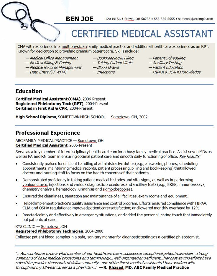 Medical Resumes Examples. Example Of Medical Assistant Resume