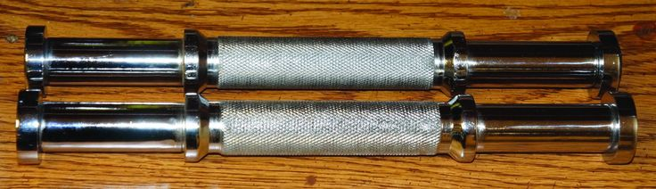 Special Dumbell Handle # 5 (Sold As Pair). Chrome plated solid steel. Can hold 5-10lb flat plates on each side. Prices are for two Handles. Ship 2 pcs in a box.