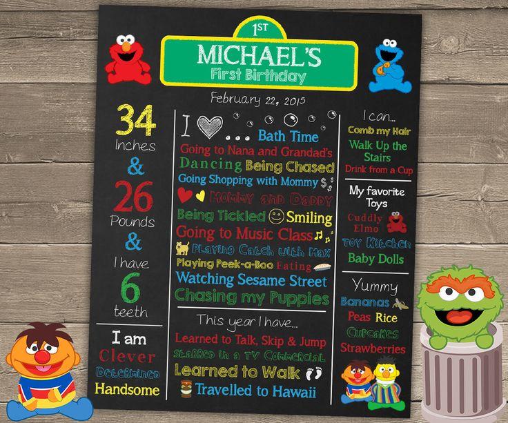 Sesame Street Chalkboard Sign, First Birthday Chalkboard, Sesame Street Birthday Chalkboard, Elmo Chalkboard, Sesame Street Birthday by ChalkyPrints on Etsy https://www.etsy.com/listing/221749038/sesame-street-chalkboard-sign-first