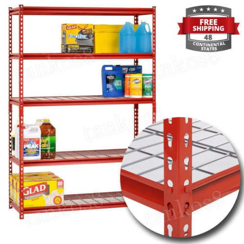 Metal-5-Shelf-Shelving-Unit-Storage-Garage-Tools-Laundry-Steel-Rack-Shelves-Red