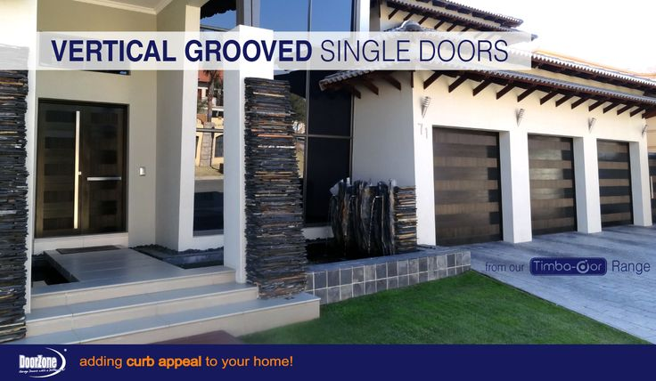 Stylish wooden sectional garage doors from our Timba-dor™ Range with a Framed Vertical grooved detail in the design and finished off with a Deep Black Stain and treated  with a commercial oil.  Visit www.doorzonesa.com for more styles
