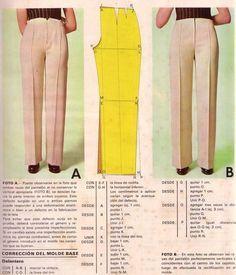 fitting pants. before/after/pattern adjustment. Correggere l'appiombo dei pantaloni