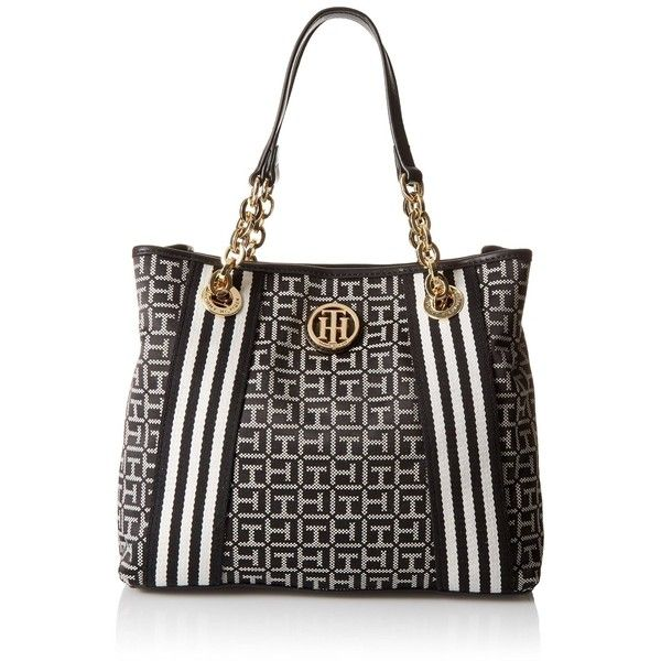 Tommy Hilfiger Web Jacquard Shopper Tote Bag ($94) ❤ liked on Polyvore featuring bags, handbags, tote bags, white tote bag, shopper purses, tommy hilfiger tote, chain strap handbag and white shopping bags