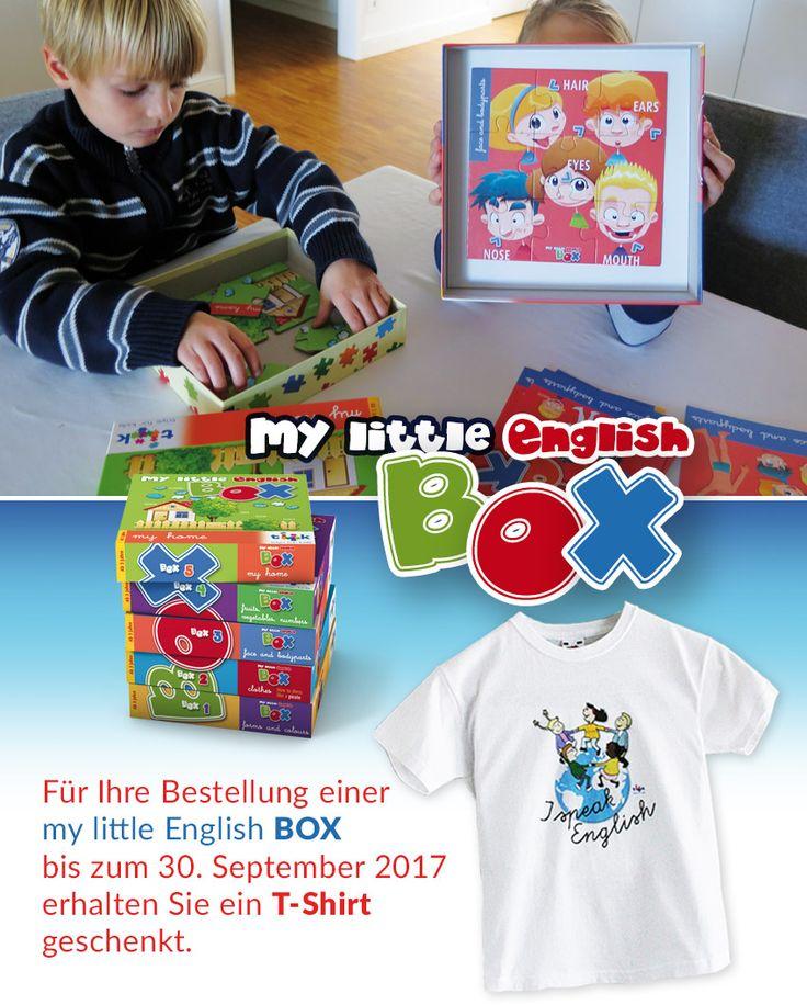 T-Shirt als Geschenk bei Bestellung einer my little English Box Ihrer Wahl! • Warum spielerisch Englisch lernen für Kinder schon so früh? Tests bestätigen seit Jahren immer wieder, dass sich die Mehrsprachigkeit auch auf die allgemeine Denk- und Lernleistungen positiv auswirkt.   #Boxen #englisch #Englisch für Kinder #Fremdsprache #fun #Ispeakenglish #kartenspiel #Kindergarten #Kindergartenkinder #Konzentrationsfähigkeit #lernen #Reisebox #Reiseboxen #reisen mit Ki
