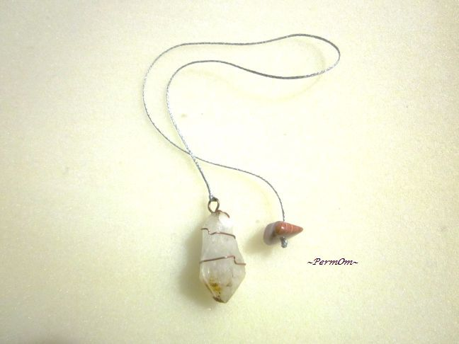 An amazing pendulum made with a milky quartz and copper wire.It has an orange chalcedony to the finish.It is especially useful in helping us to focus, concentrate and control our thoughts, intentions and actions. It stimulates brain functions, amplifying thought forms while at the same time helping to balance the emotions.