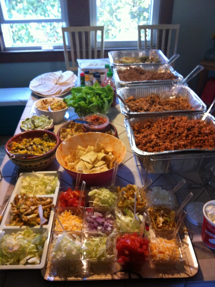 Pinning my own taco party because it was so good! Fried avocado, beef, pulled pork, and copycat pf changs recipe!