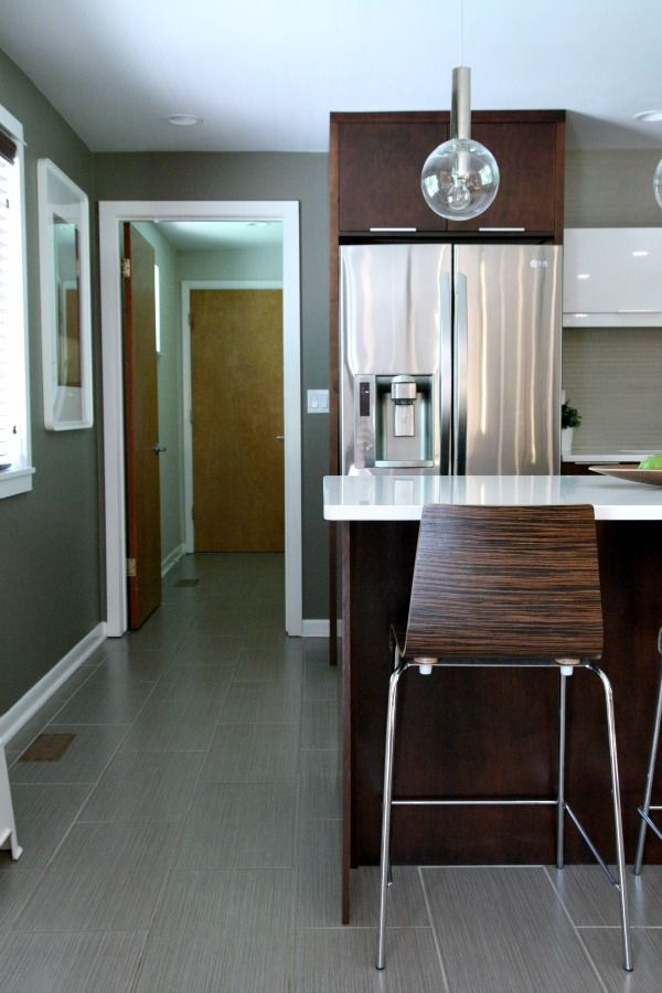 brown and gray kitchen floors