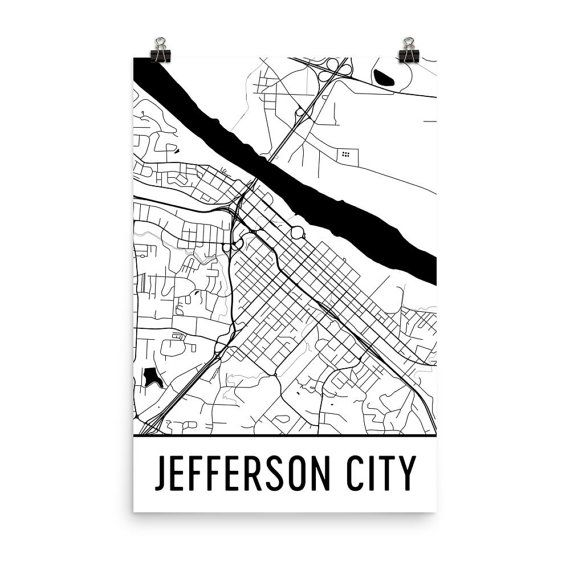 Jefferson City Map Art Print, Jefferson City MO Art Poster, Jefferson City Wall Art, Jefferson City Gift, Map of Jefferson, Print Poster Art