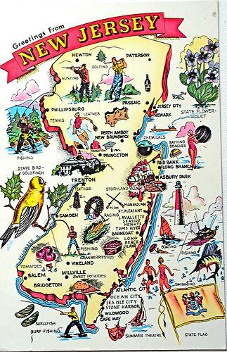 New Jersey: Gardens States, Jersey Maps, Jersey Girls, Jersey Pride, Jersey Shore, Maps Postcards, U.S. States, Newjersey, New Jersey