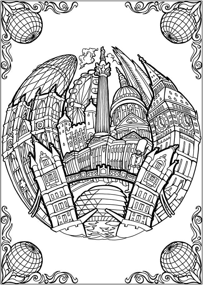 BLISS CITIES Coloring Book: Your Passport to Calm by: David Bodo - Coloring Page 3