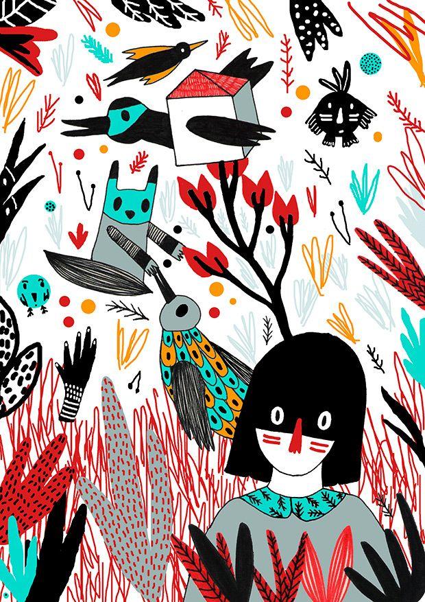 Phuyu llevaba días escondido en el bosque con el único e inexplicable propósito de reconocer todos los sonidos que los pájaros emiten cuando llega el verano. Se escondía tras los arbustos que rodeaban su casa ... | Texto de Avin | Ilustración de Pili Aguado