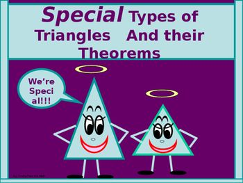 In the lesson that follows, students engage in the use of the properties of isosceles, equilateral, and right triangles! The lesson includes some of the basic terminology used when referencing the various types of triangles, and will include important angle/side relationships to be aware of while working with thees special triangles.