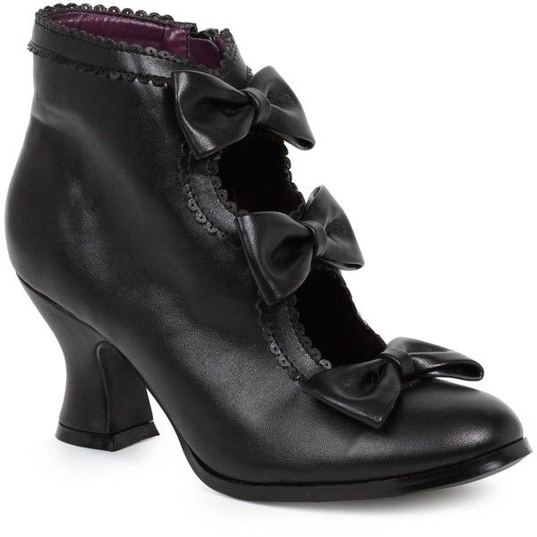 Women's Black Ankle Boots with Bows ($50) ❤ liked on Polyvore featuring costumes, halloween costumes, scary halloween costumes, sexy costumes, sexy witch costumes, sexy women halloween costumes and party city womens costumes