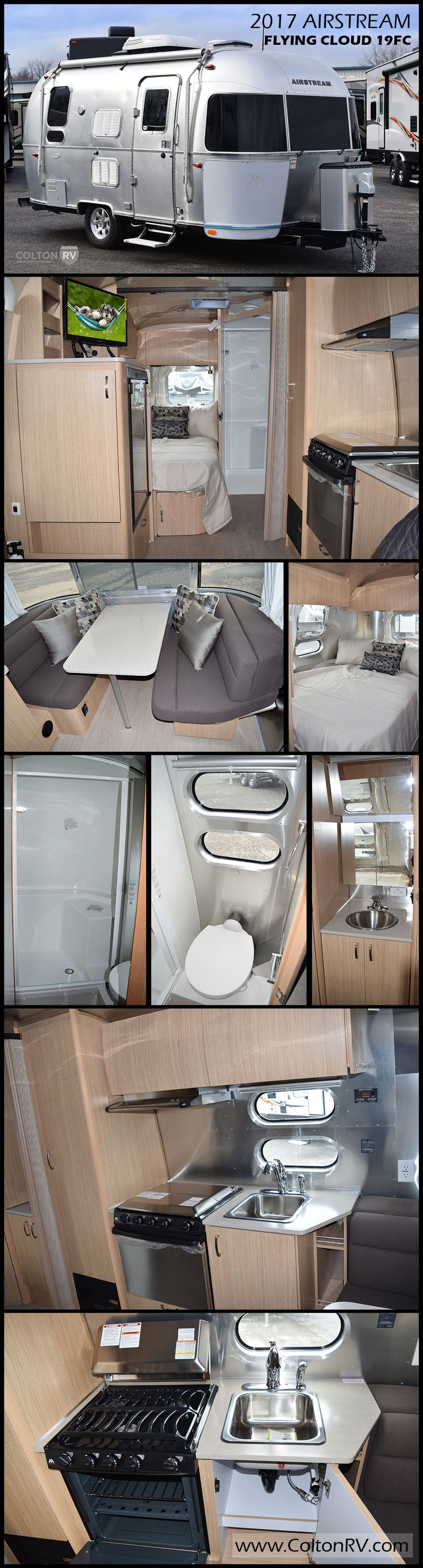 """Built to last, this 2017 FLYING CLOUD 19FC travel trailer by AIRSTREAM invites you inside with the flair of modern design. Airstreams move """"like a stream of air""""… cutting down on drag and resulting in far better gas mileage than traditional box style trailers. Plus they have a low center of gravity which means more stability when it comes to turns, unexpected swerves and gusts of wind."""
