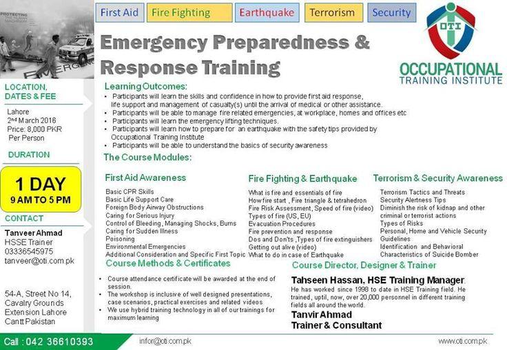 Emergency preparedness response training in lahore http
