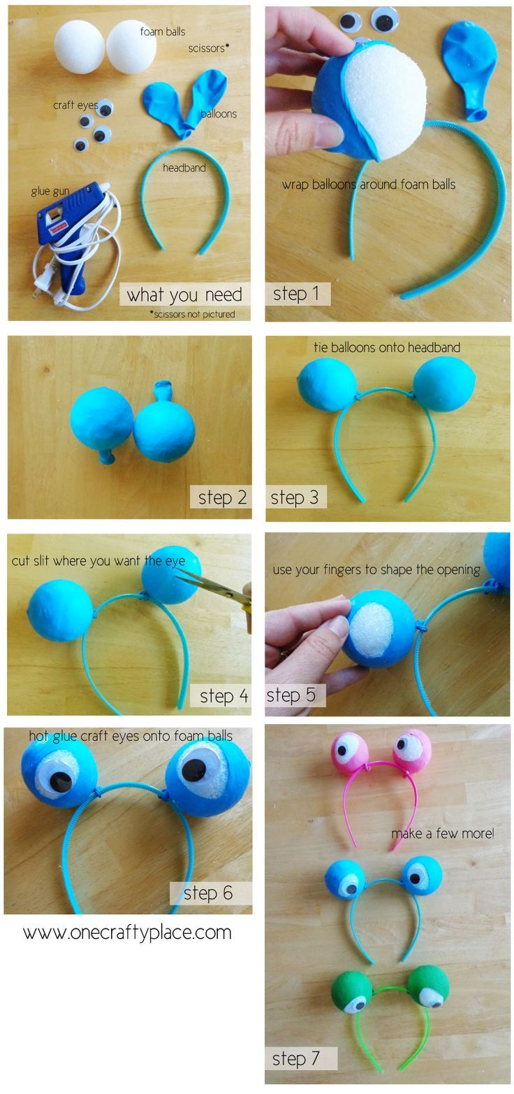 Googly-eye headband tutorial for my next monster or alien party, these would be a perfect party craft or party favors for the kids