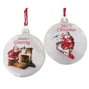 Kurt Adler Coca-Cola Santa Snow Ball Ornament Pair